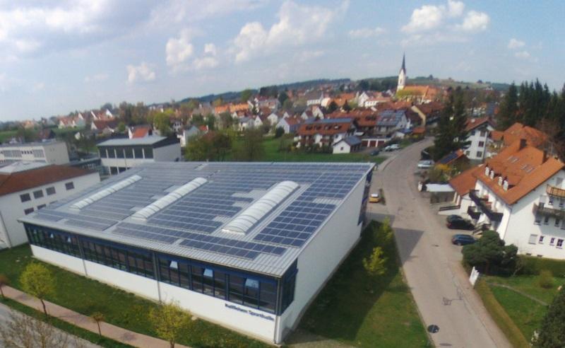Photovoltaik Solarstrom Nandlstadt Turnhalle - Bürger Energie Genossenschaft Freising - Beteiligung